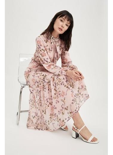 DeFacto Gömlek Yaka Bağcık Detaylı Uzun Kollu Maxi Elbise Mor